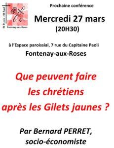 Mercredi 27 Mars, 20h30 : Que peuvent faire les chrétiens après les Gilets Jaunes ?