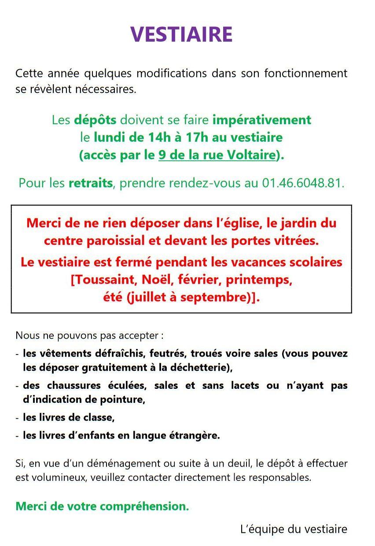 Vestiaire @ Centre Paroissial de Saint Germain
